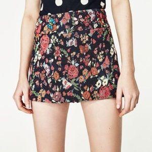 Zara Mini Skort Shorts Embellished Textured